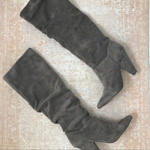 Grey Scrunched Knee High Boots